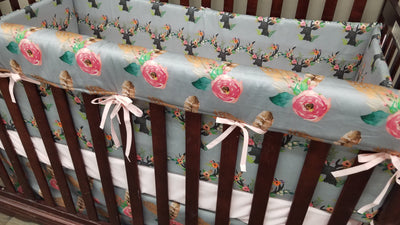 Custom Girl Crib Bedding - floral fawn, fawn minky, and feather roses, Woodland Crib Bedding