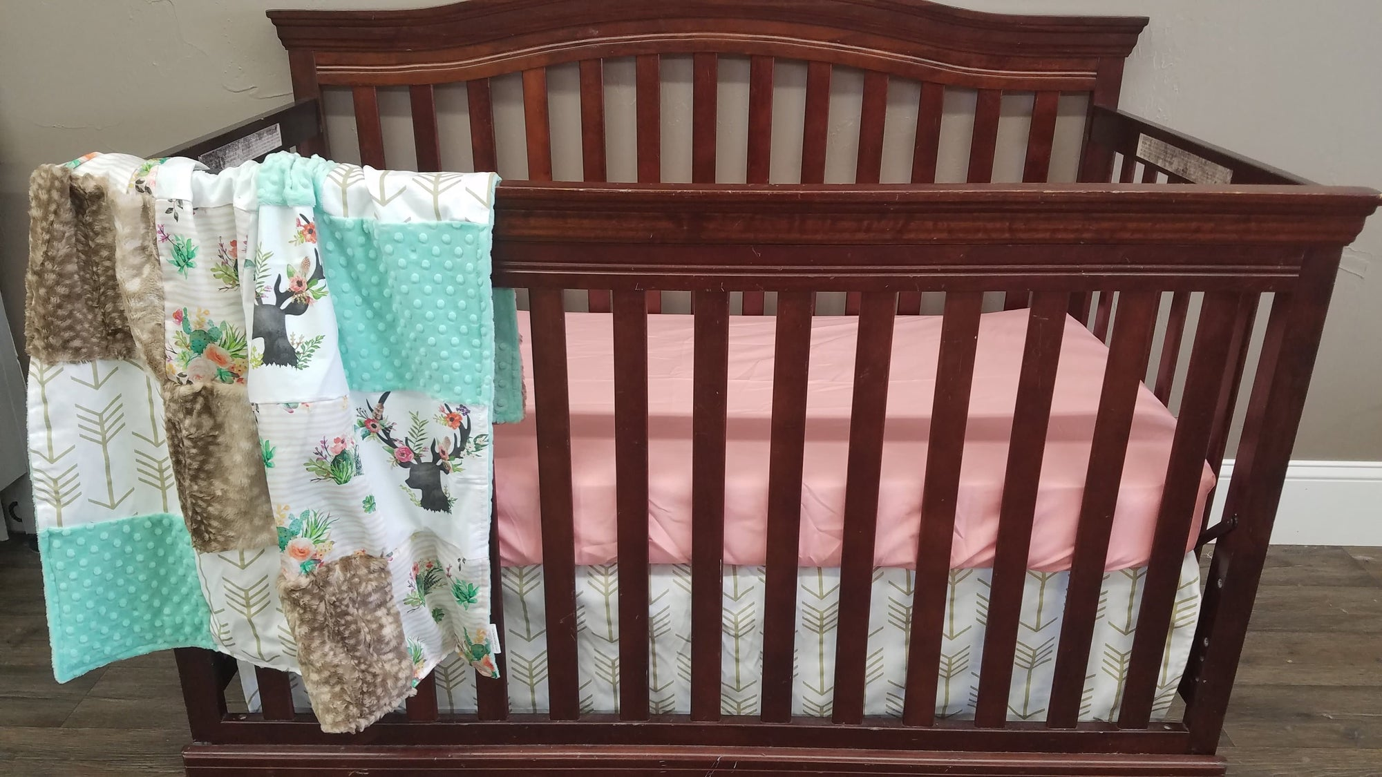 Custom Girl Crib Bedding - Cactus Stripe, Floral Antlers, Coral, Fawn Minky, Arrow, Antler and Cactus Crib Bedding