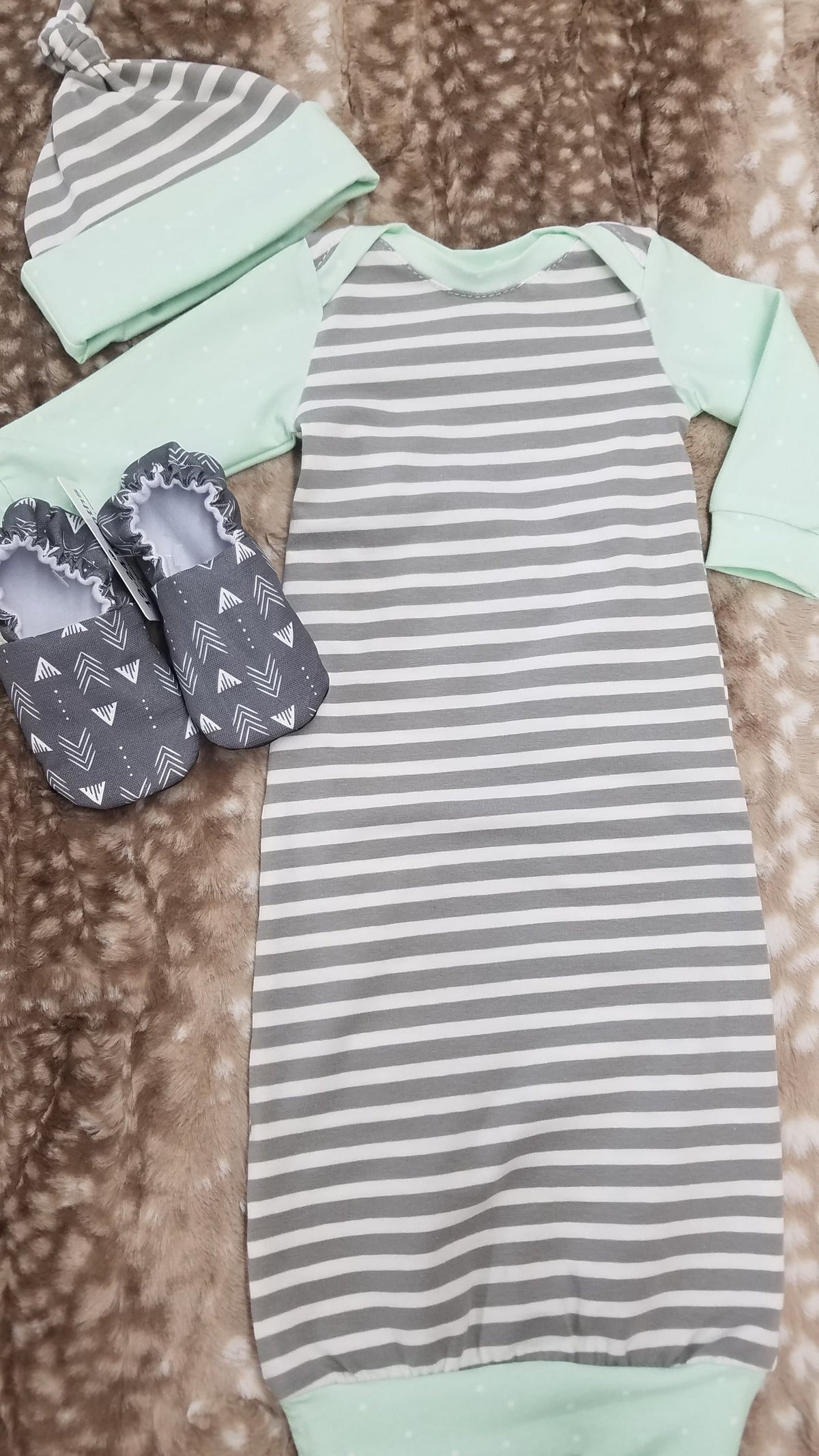 Baby Gown - Gray Stripe with mint trim Going Home Outfit