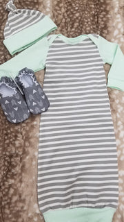 Baby Outfit - Gray Stripe with mint trim Gown and Hat