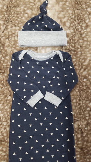 Baby Gown - Navy triangle and gray Going Home Outfit