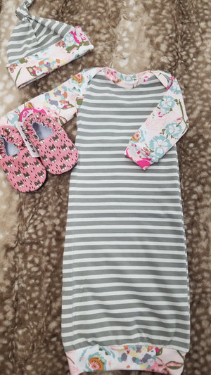 Baby Outfit - Gray Stripe with Blush Floral Gown and Hat