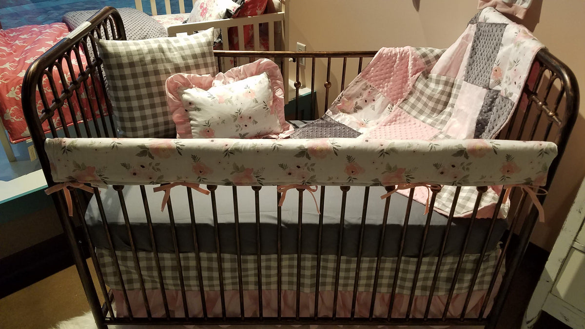 Custom Girl Crib Bedding - Blush Gray Roses, gray check, bella damask, Rustic Floral Crib Bedding