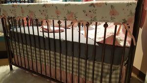 Custom Girl Crib Bedding - Blush Gray Roses, gray check, bella damask, Rustic Floral Nursery Set