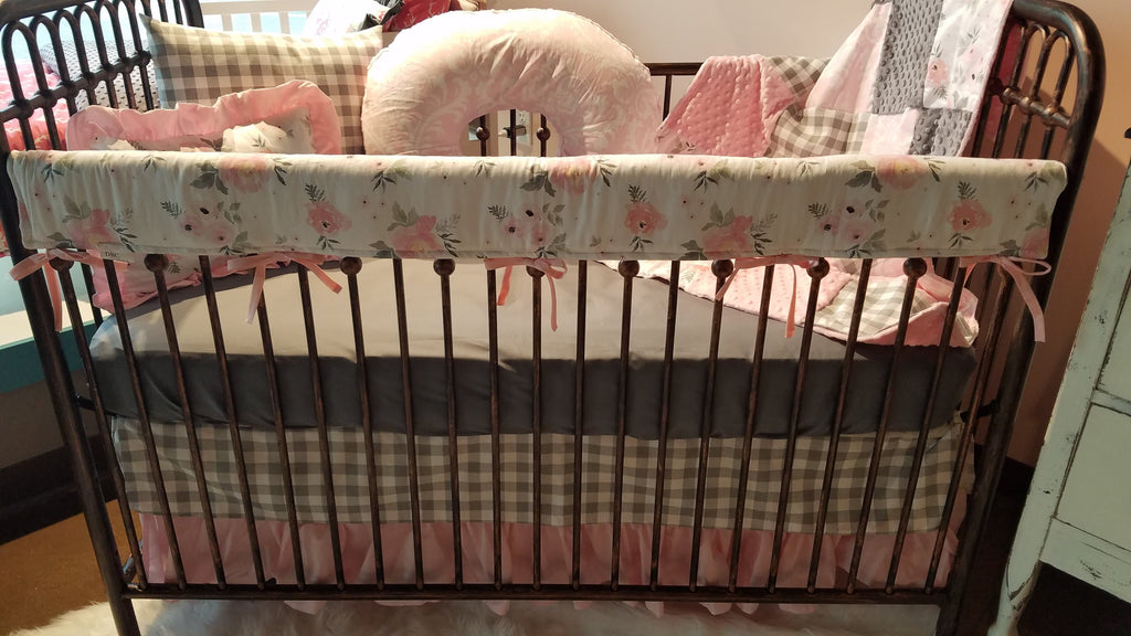 Custom Girl Crib Bedding - Blush Gray Roses, gray check, bella damask