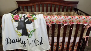 Custom Girl Crib Bedding - Daddy's Girl Floral Deer, Fawn minky, and Roses, Girl Woodland Crib Bedding