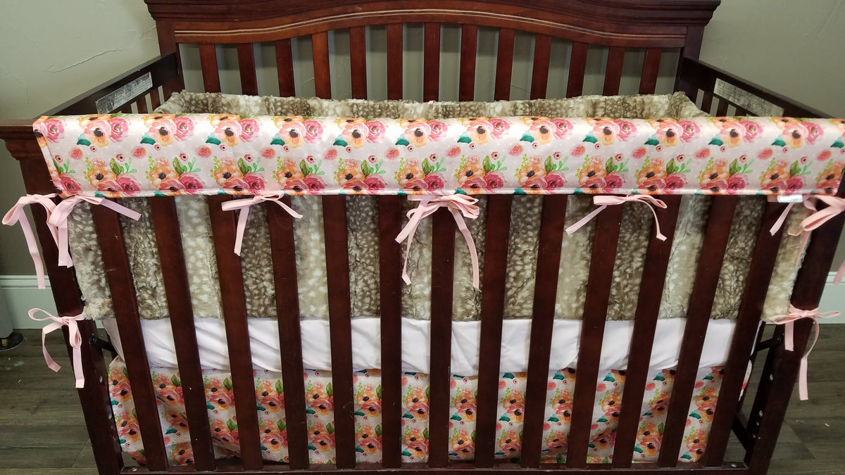 Custom Girl Crib Bedding - Daddy's Girl Deer and Rose Woodland Collection