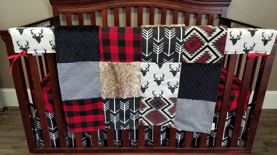 Ready to Ship Boy Crib Bedding - Buck, Black Arrows, Fawn minky, Red Black Buffalo Check, Aztec, Woodland Crib Bedding