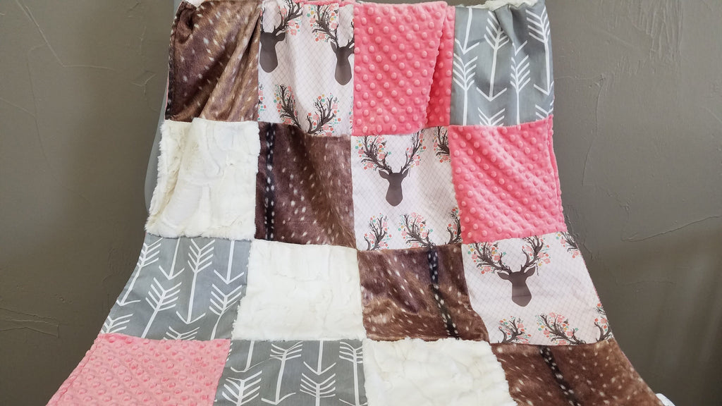 Patchwork Blanket - tulip fawn, deer skin minky, gray arrow, coral minky, ivory crushed minky
