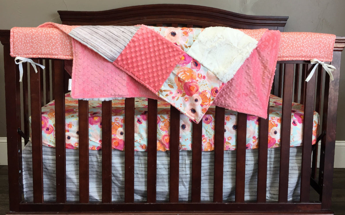 Rustic Nursery Set, Floral Crib Bedding