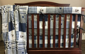 Custom Boy Crib Bedding - Navy Cows Come Home, Gray mini dot, and navy check, Cows Come Home Farm Nursery Set