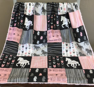 Custom Girl Crib Bedding - Wild and Free Horses, Horse Nursery Set