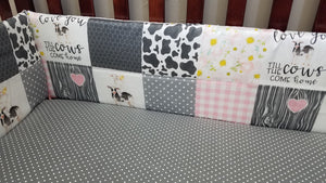 Custom Girl Crib Bedding - Cows Come Home, Gray mini dot, and blush check, Girl Cow Crib Bedding