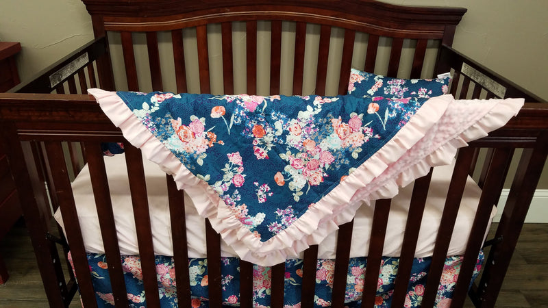 2 Day Ship Girl Crib Bedding - Navy Coral Floral and Blush, Floral Crib Bedding