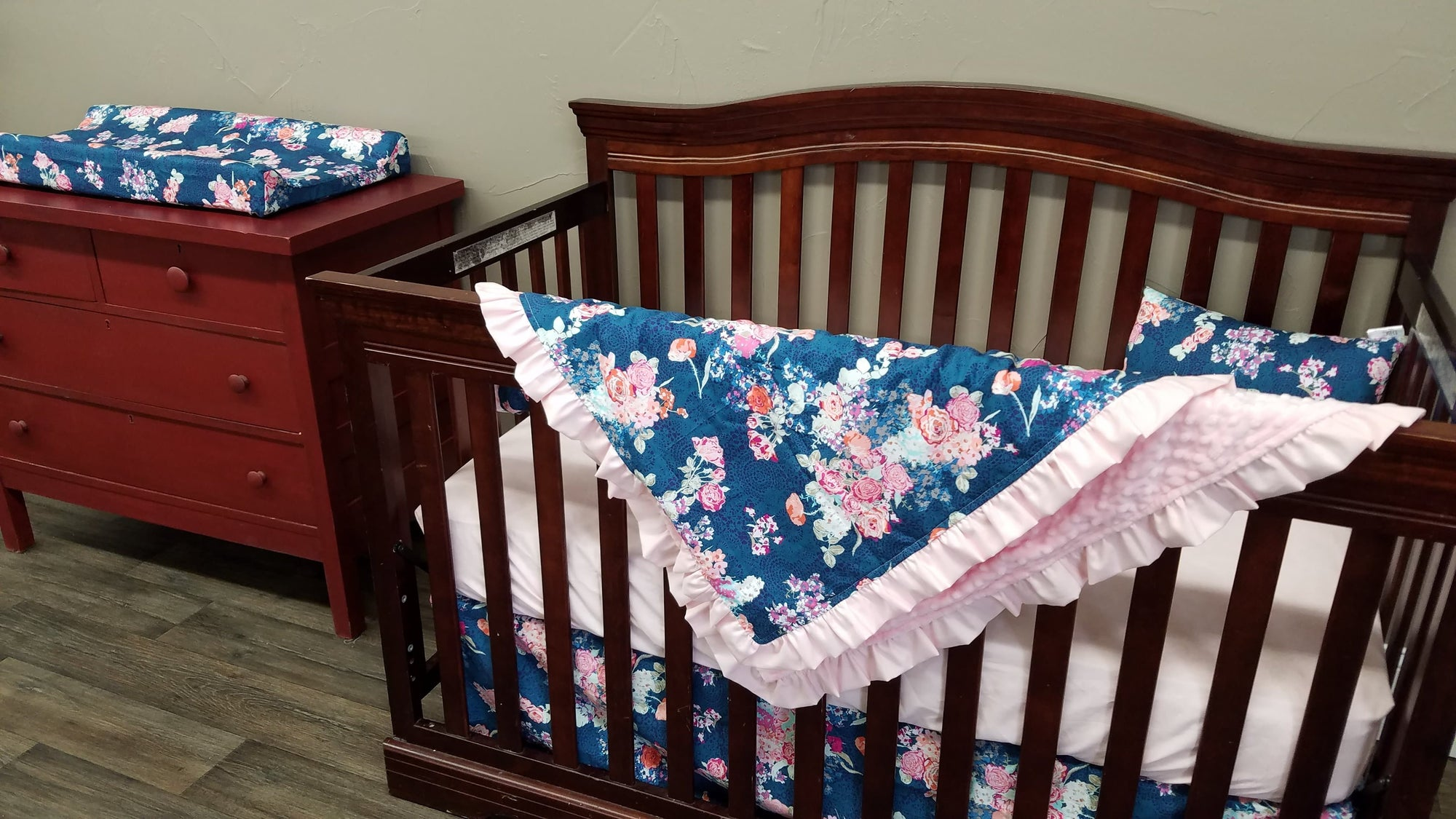 Pre-Order Girl Crib Bedding - Navy Coral Floral and Blush, Floral Crib Bedding