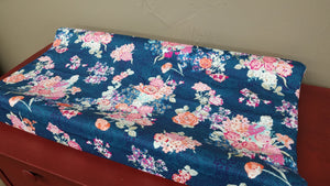 Ready to Ship Girl Crib Bedding - Navy Coral Floral and Blush, Floral Nursery