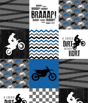 Dirt Bike Patchwork Print Blanket or Quilted Comforter - Toddler, Twin, Full, Queen