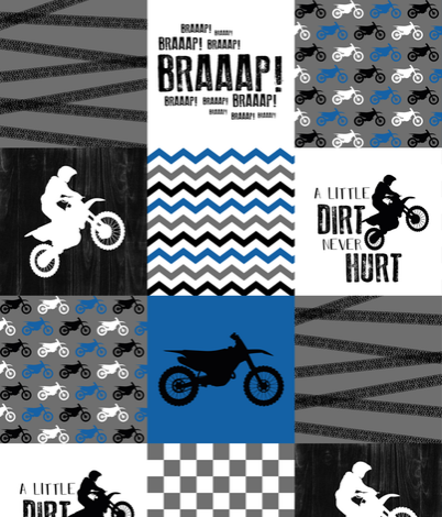 Twin, Full, or Queen Dirt Bike Patchwork Print in blue