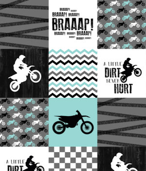 Custom Boy Crib Bedding - Dirt Bike Nursery Set