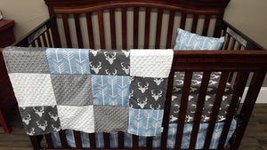 Ready to Ship Boy Crib Bedding - Dark Gray Buck, Cashmere Blue Arrow, Rustic Farm Collection