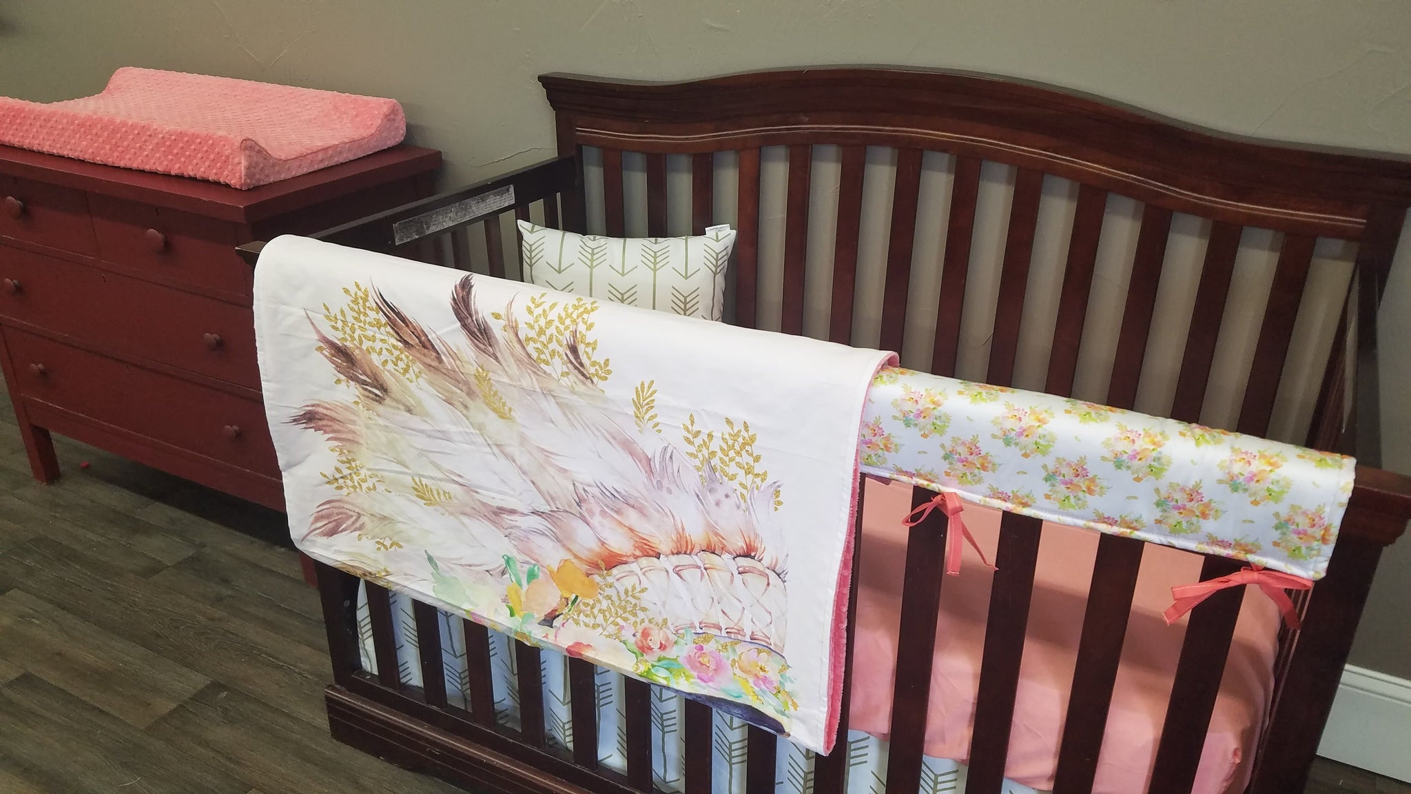 8191ed7ee9ebe Custom Girl Crib Bedding - Peach, Mint, and Gold Floral Headdress and Gold  Arrow, Boho Crib Bedding