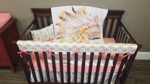Custom Girl Crib Bedding  - Peach, Mint, and Gold Floral Headdress and Gold Arrow, Boho Crib Bedding