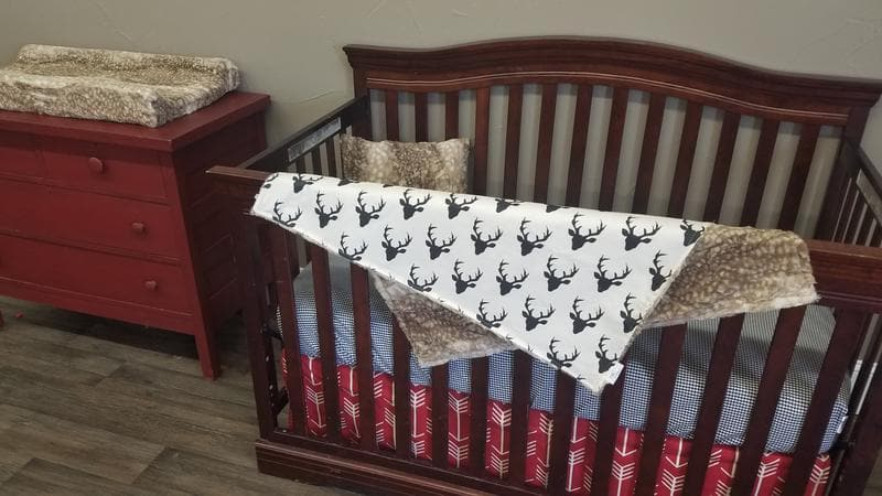 Ready to Ship Boy Crib Bedding - Buck, Fawn Minky, Red Arrows, Black Check, Woodland Nursery Collection