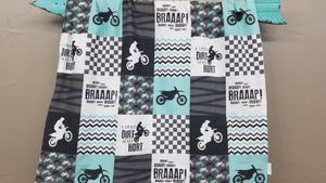 Custom Boy Crib Bedding - Mint Dirt Bike, Gray Minky, and Race Flag Check, Motocross Nursery Set