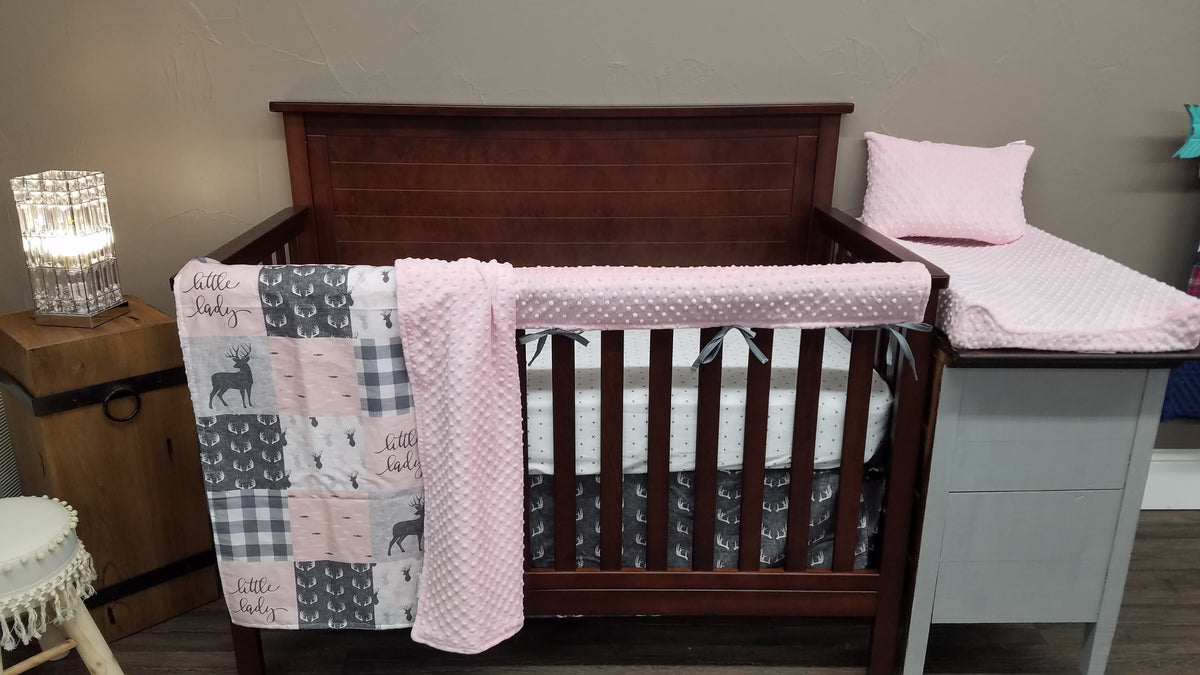 Custom Girl Crib Bedding - Little Lady and Antlers, Woodland Crib Bedding