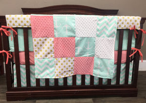 Ready to Ship Girl Crib Bedding - Mint Chevron, Coral, and Gold