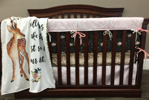 Custom Girl Crib Bedding - Deer, Antlers, Blush Damask, and Fawn Minky