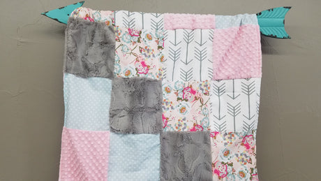 Ready to Ship Girl Crib Bedding - Blush Flowers, White Gray Arrow, Blue Dots