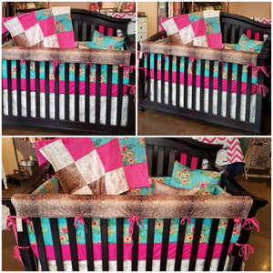 Custom Girl Crib Bedding - Aqua Flowers, Deer Skin Minky, and Gold Arrows, Floral Crib Bedding