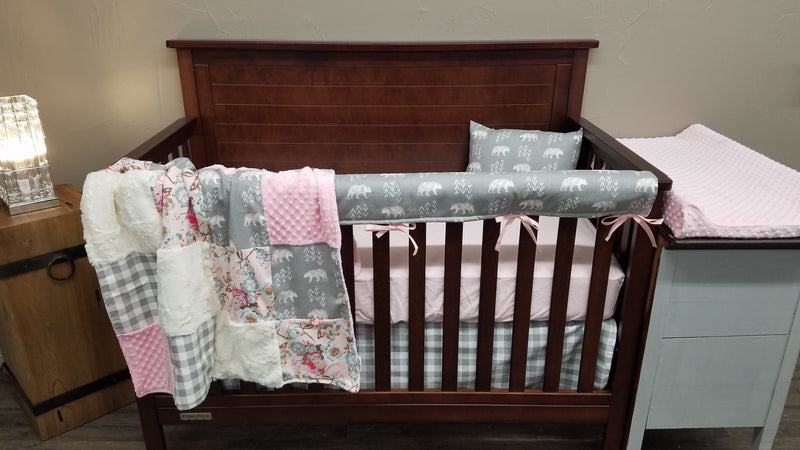2 Day Ship Girl Crib Bedding - Bears, Flowers, Check, Bear Nursery Collection