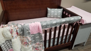 2 Day Ship Girl Crib Bedding - Bears, blush flowers, gray check, Bear Crib Bedding