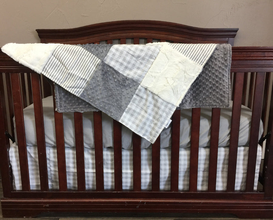 Ready to Ship Neutral Crib Bedding - Farm Fresh Check and Gray Ticking Stripe, Farmhouse Nursery Collection