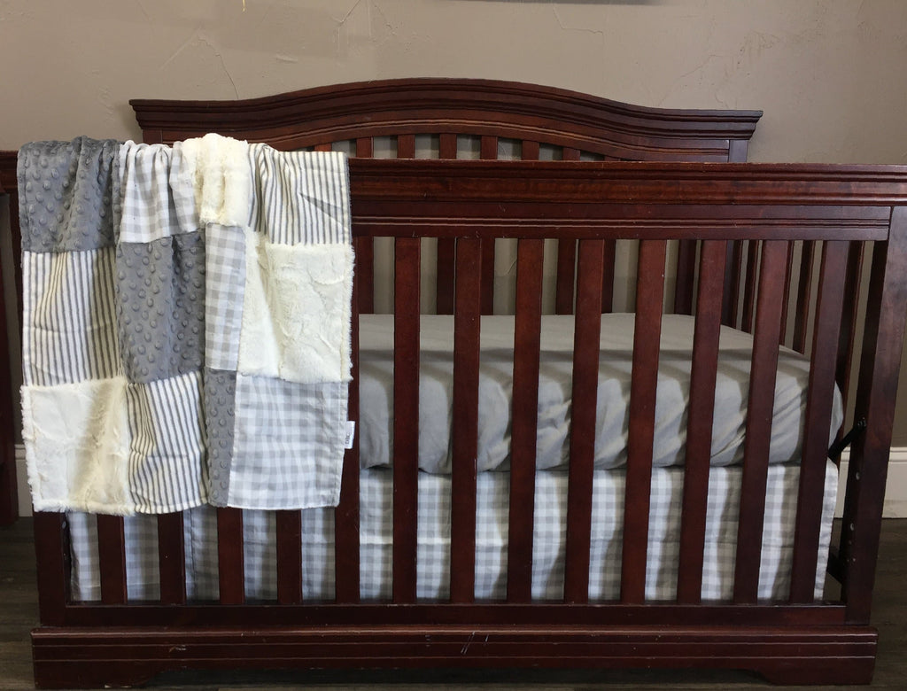 Neutral Crib Bedding - Farm Fresh Check and Ticking Stripe in Grays