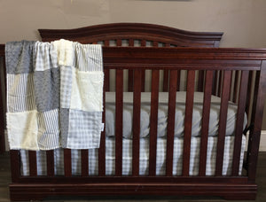 Ready to Ship Neutral Crib Bedding - Farm Fresh Check and Ticking Stripe in Grays