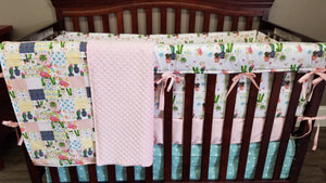 Custom Girl Crib Bedding - Cactus and Aztec, Cactus Crib Bedding
