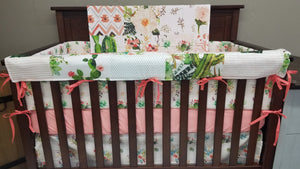 Custom Girl Crib Bedding - Cactus Crib Bedding