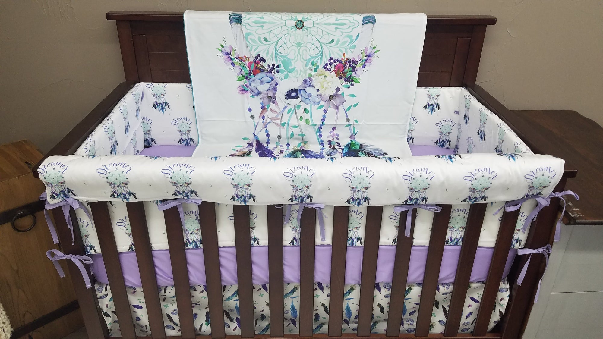 Custom Girl Crib Bedding- Dreamcatcher Collection