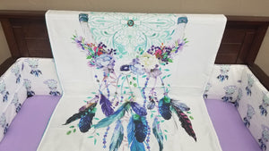 Custom Girl Crib Bedding- Dreamcatcher, Feathers, Teal, and Purple Crib bedding