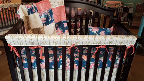 Ready to Ship Girl Crib Bedding - Navy Coral Floral, Fawn Minky, Coral Minky, and White Gold Arrow