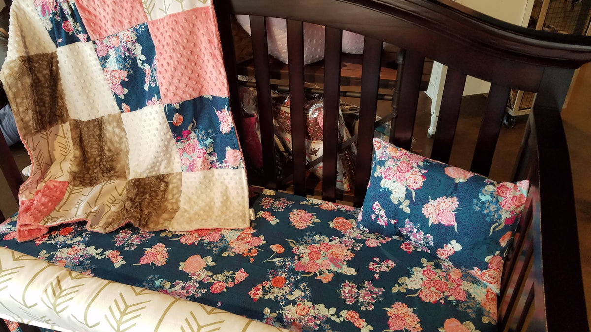 Ready to Ship Girl Crib Bedding - Navy Coral Floral, Fawn Minky, Coral Minky, and White Gold Arrow, Floral Fawn Crib Bedding
