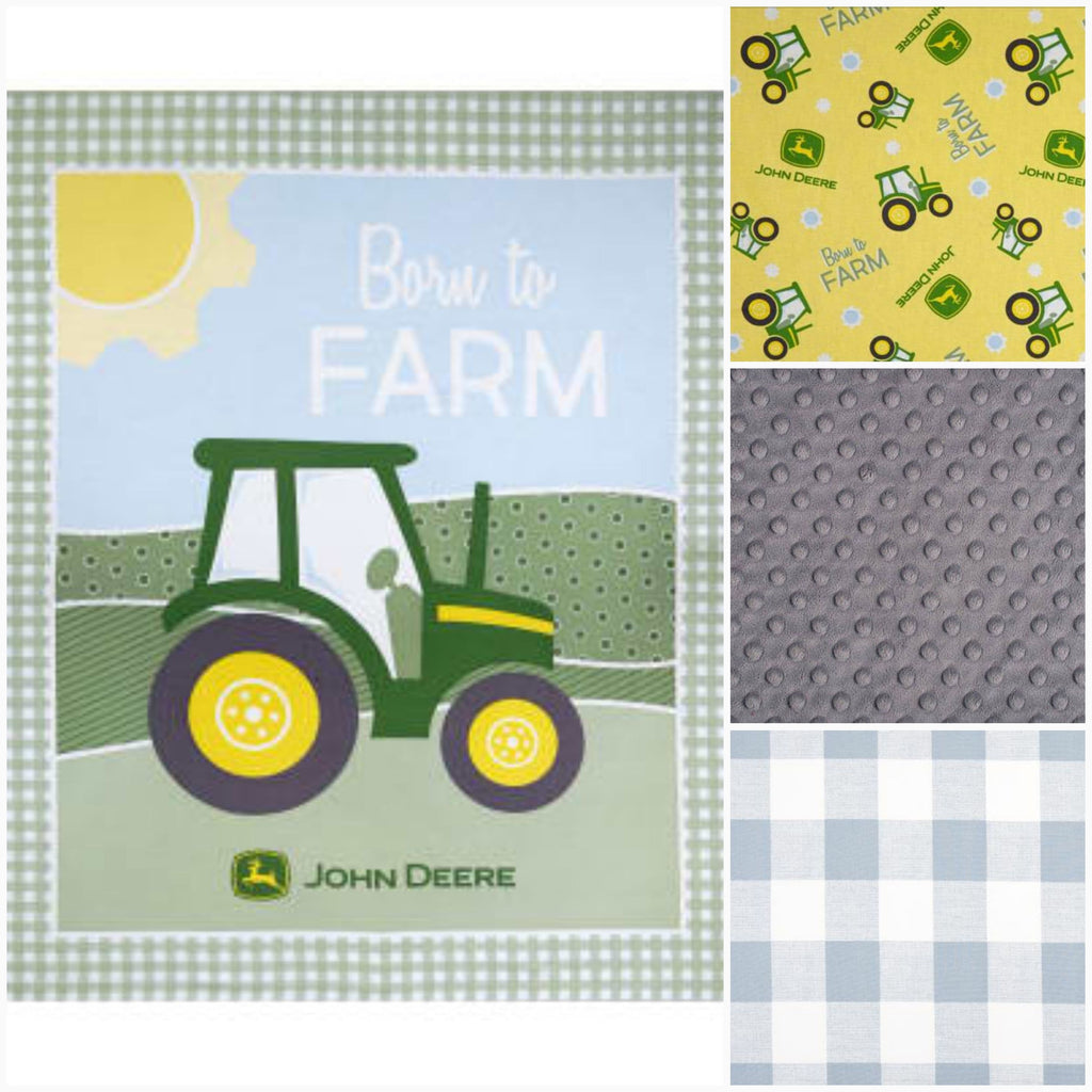 Ready to Ship Boy Crib Bedding - John Deere, Tractor, Cashmere Blue Check, Tractor Crib Bedding