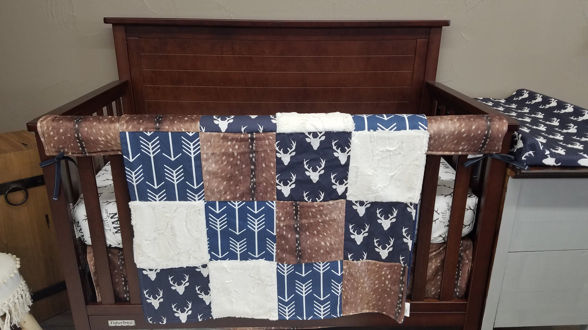 Custom Boy Crib Bedding - Little Man Antlers, Navy Buck, Deer Skin Minky, and Navy Arrow, Woodland Crib Bedding