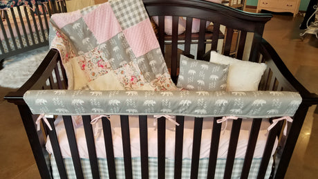 Ready to Ship Girl Crib Bedding - Bears, blush flowers, gray check, Bear Crib Bedding