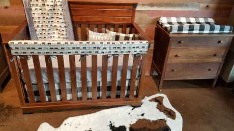 Custom Boy Crib Bedding - Hereford Cows, Black Check, and Gray, Hereford Cow Nursery Set