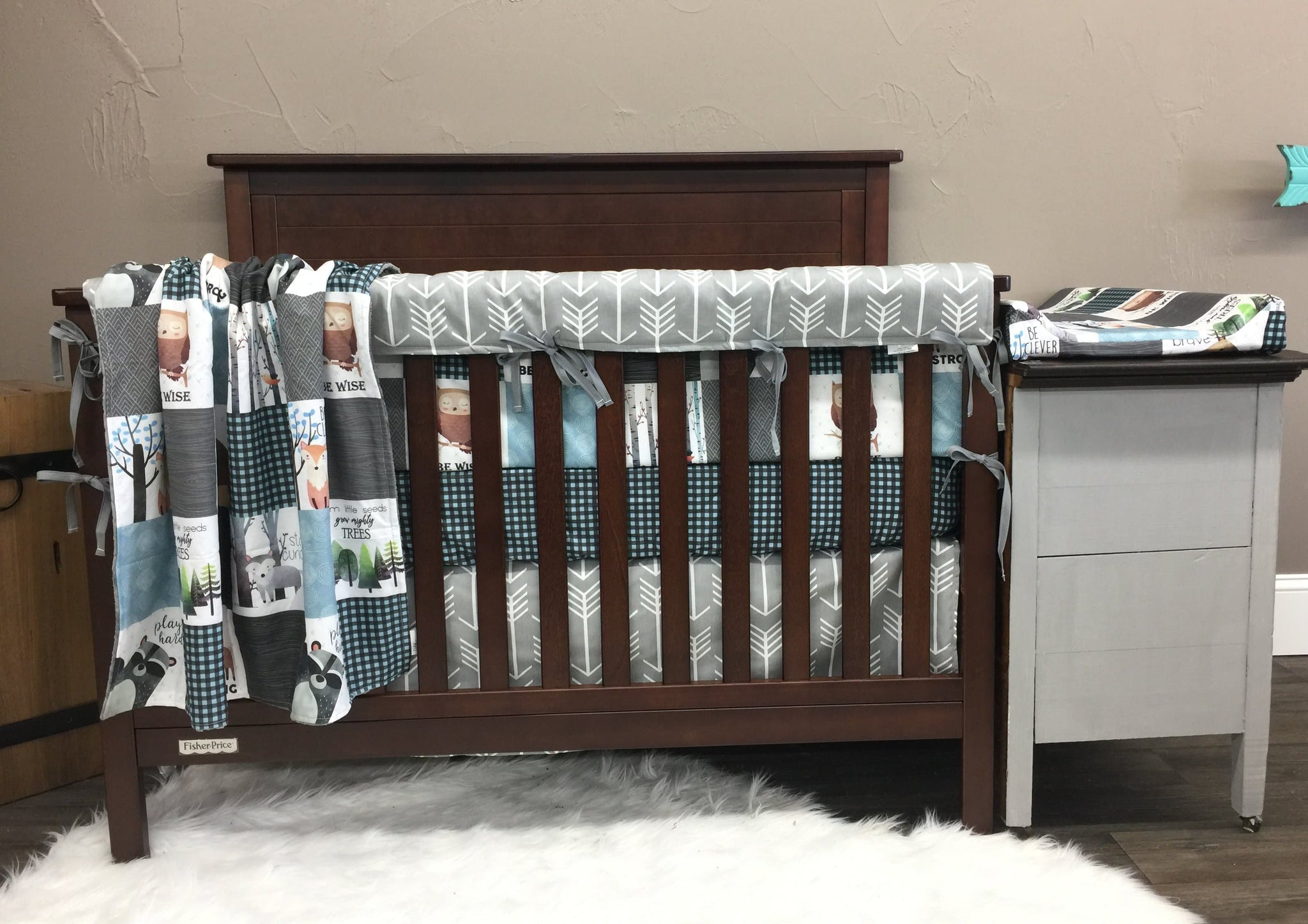 Custom Boy Crib Bedding Woodland Animals Blue Check