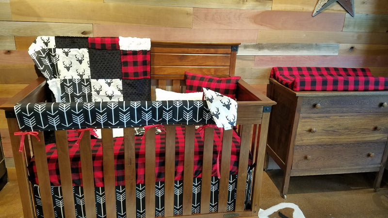 Ready to Ship Boy Crib Bedding - Buck, Buffalo Check, Arrow, Woodland Nursery Collection